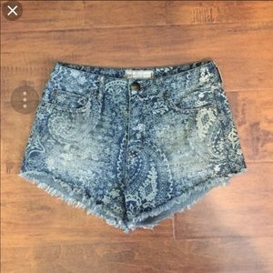Free People Paisley Denim Shorts